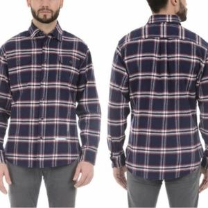 JACHS Men's Brawny Flannel Shirt - Navy Red